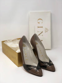 Gina Vintage Leather Court Shoes Brown and Pewter Colour UK4