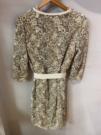 Jaeger Gold and Cream 2 piece lace coat & shift dress lined UK size 12