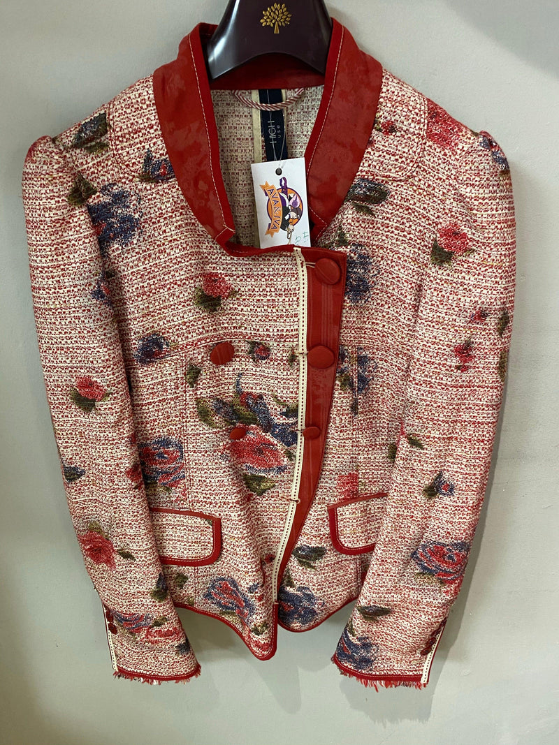 Hi Use Red Cotton jacket with floral pattern & pockets UK size 10