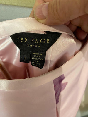 Ted Baker Satin Skirt lined with net petticoat pink floral rose gold zip UK Size S
