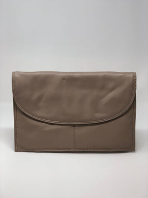 Jane Shilton Vintage Leather Clutch / Bag Leather Taupe