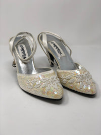 Imperial Sequinned and Beaded Ankle Strap Heel Size 7 (UK 3.5/4)