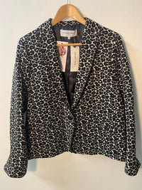 Gerard Darel Jacket Black and White Print Cotton Mix BNWT UK Size 14 RRP £230