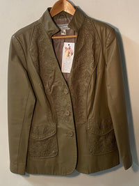 Heine Leather Jacket with Embroidered Panels & Pockets Taupe UK Size 14