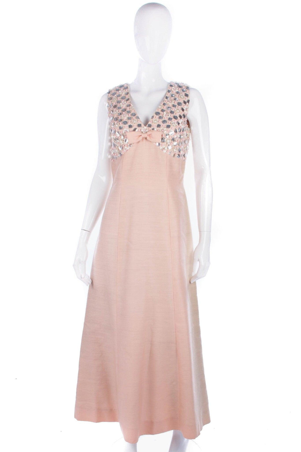 Ellis Vintage A Line Evening Gown Peach Pink with Sequins Size 8/10