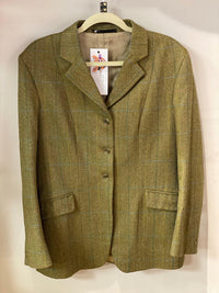 Stewart Christie & Co of Scotland wool country jacket green check UK size 14/16