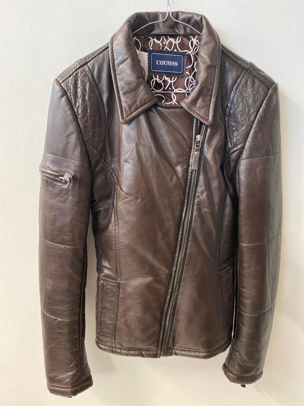 Cousins Brown Leather Biker Style Jacket Padded UK Size 10