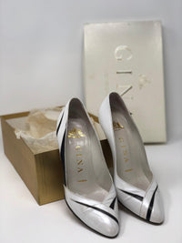 Gina Vintage Shoes White Pearl and Black Leather Heels UK4