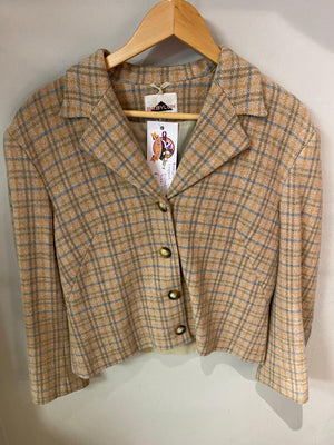 Babylon cropped wool jacket brown/blue check UK size 10