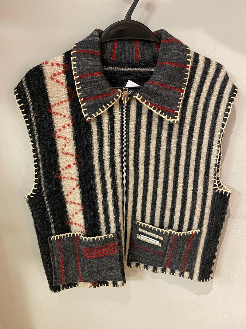 Army of Knitters waistcoat grey/white stripe with zip & pockets UK size m