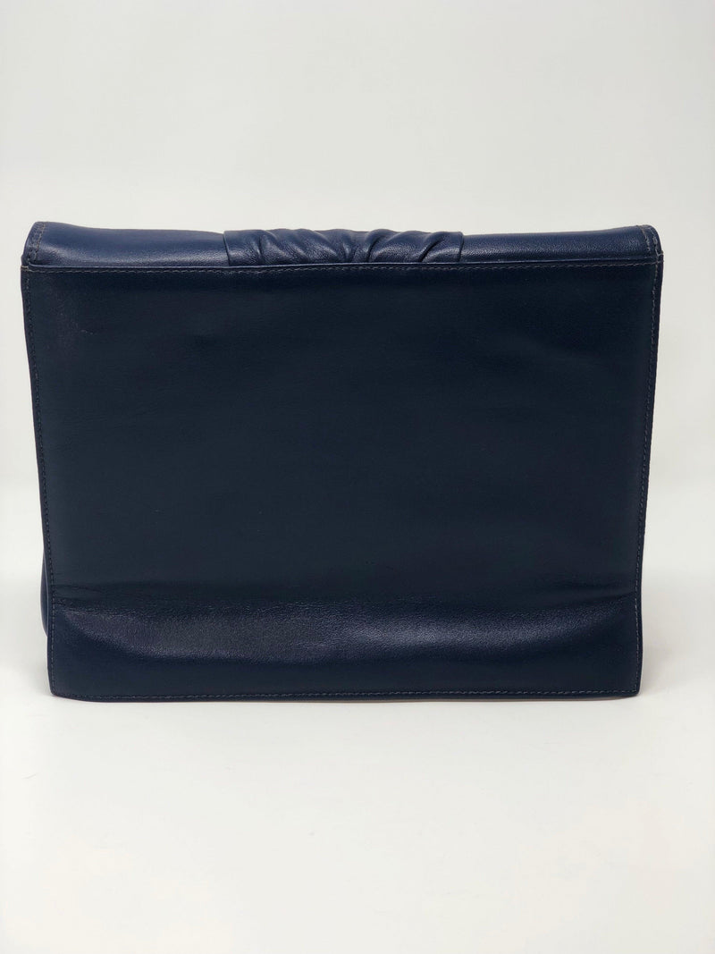 Checker Leather Vintage Blue Clutch Bag with Suede Interior