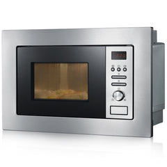 Severin MW7880 Built In Microwave Brushed Stainless Steel Black 800W Oven - Homespares.co.uk