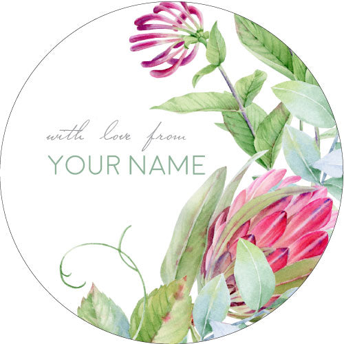 Protea Rose Personalised Gifting Stickers