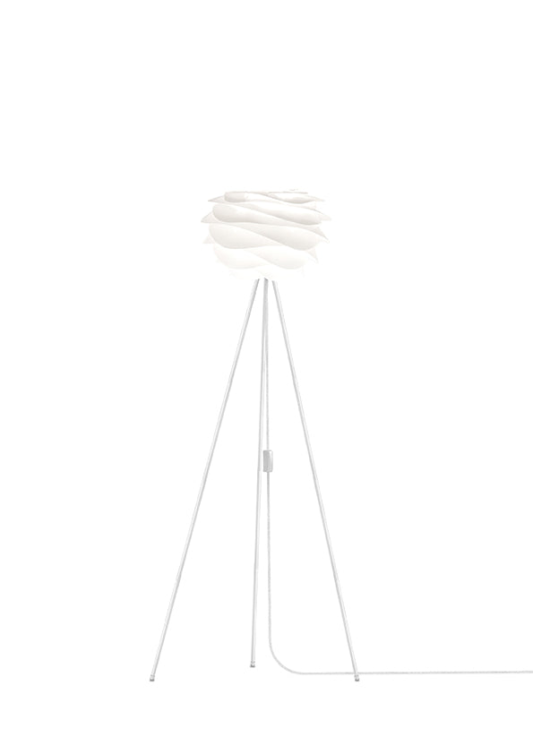 White Carmina Mini Floor Lamp - White Stand