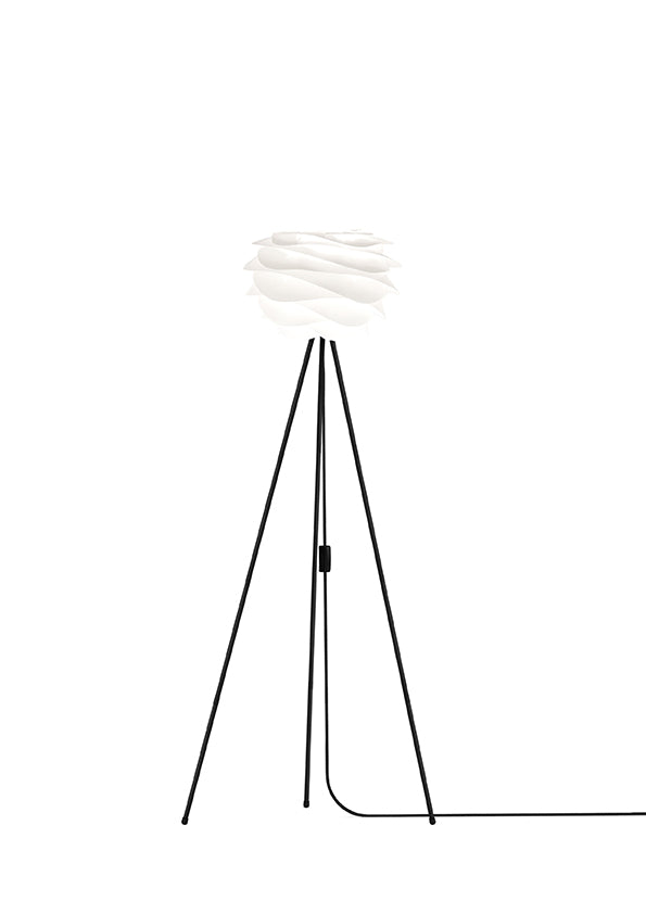 White Carmina Mini Floor Lamp - Black Stand
