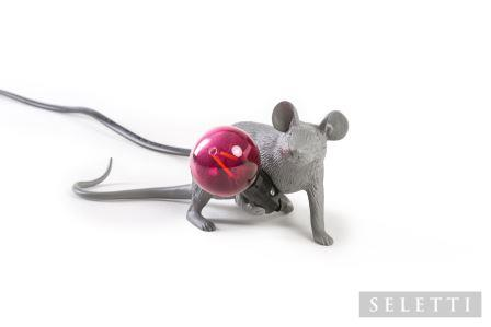 Grey Lying Down Mouse Lamp