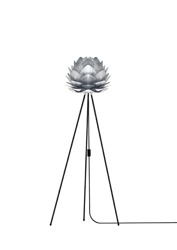 Brushed Steel Silvia Mini Floor Lamp - Black Stand