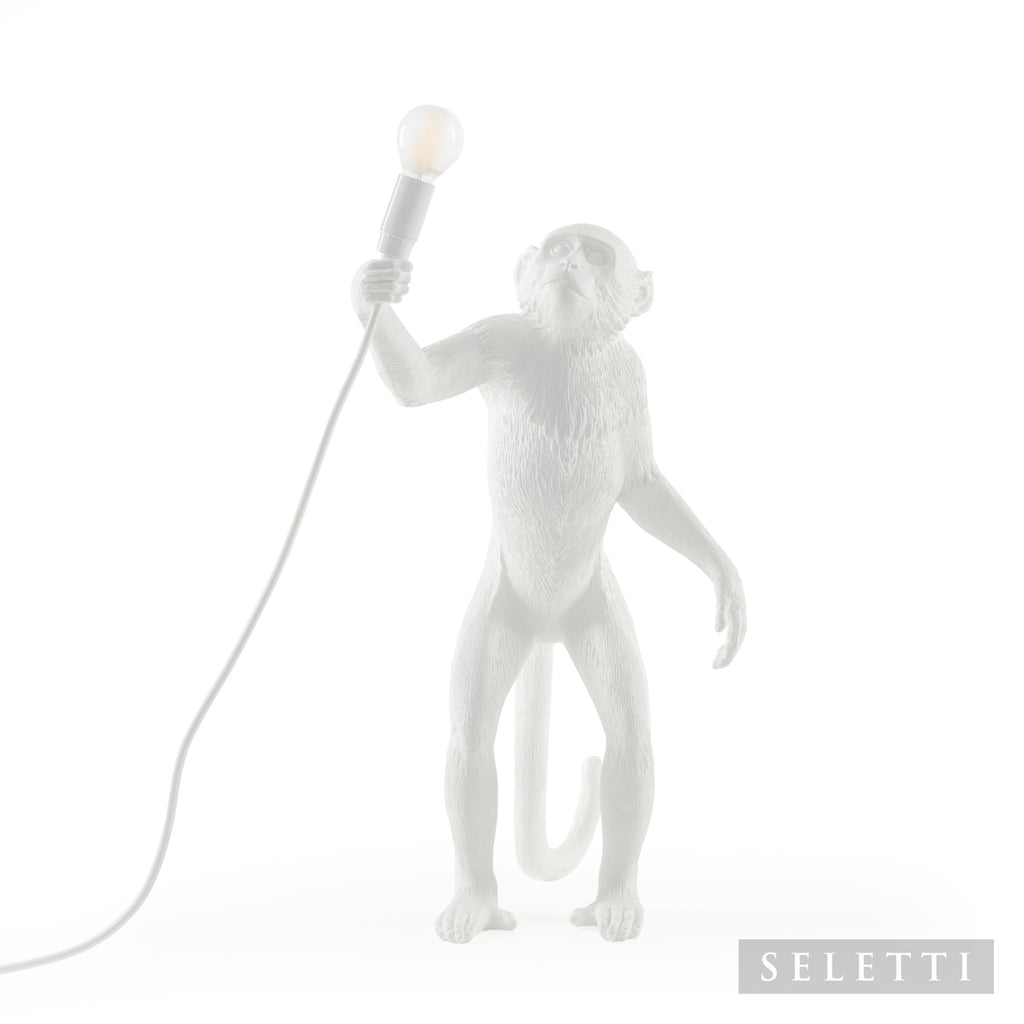 Monkey Lamp Standing - White