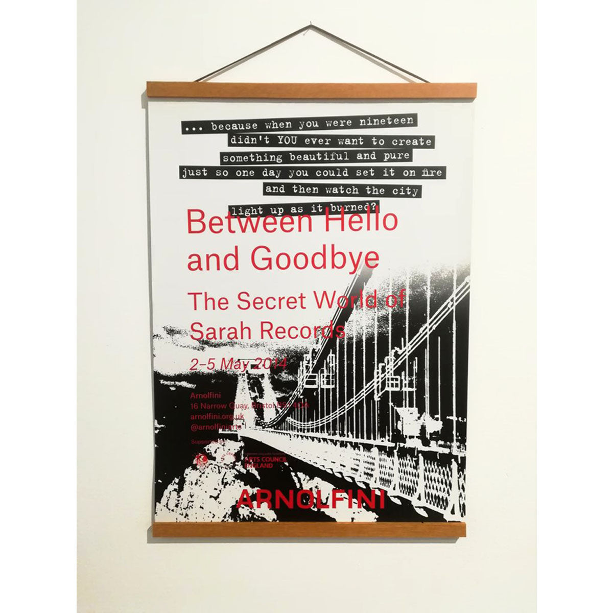Between Hello and Goodbye - Sarah Records Original Archive Poster - Arnolfini Bookshop