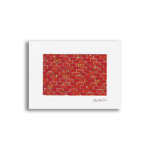 The Red Wall - Unmounted Limited Edition Print - Rhys Bevan Jones|Y Wal Goch - Print rhifyn cyfngedig heb eu mowntio - Rhys Bevan Jones