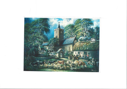 Greetings Card - Church and Inn, Llanbadarn Fawr|Cerdyn Cyfarch - Church and Inn, Llanbadarn Fawr