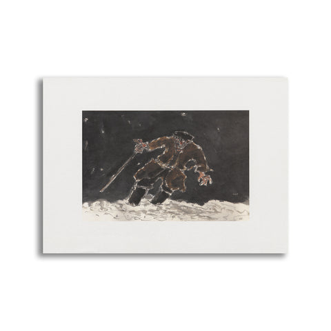 Kyffin Williams - Unmounted Print - Farmer in the Snow|Kyffin Williams - Print heb eu mowntio - Farmer in the Snow