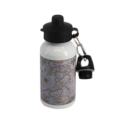 Aluminium Water Bottle - John Speed Map of Wales|Botel Dŵr Alwminiwm - Map o Gymru John Speed