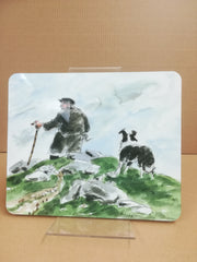 farmer with dog - Sir Kyffin Williams Place Mat|farmer with dog - mat bwrdd syr kyffin williams