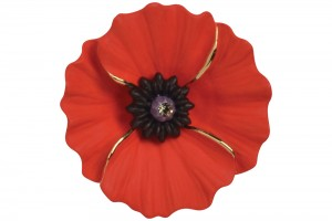Poppy Brooch (Large with gold detailing)