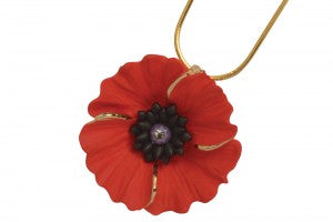 Poppy Necklace (with gold detailing)|Mwclis Pabi (efo manylion aur)