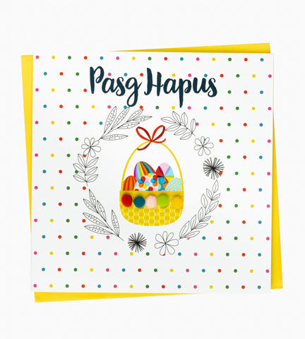 Greetings card 'Pasg Hapus' (Easter basket)
