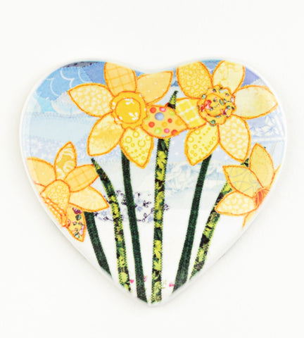 Daffodil heart-shaped ceramic coaster by Josie Russell