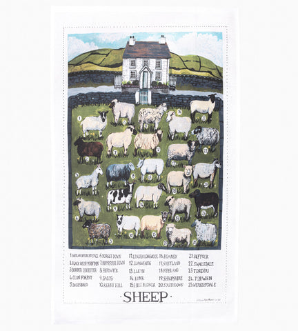 'Sheep breeds' tea towel by Lizzie Spikes