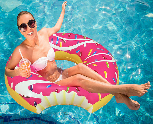 Use The Riffspheres Pink Donut Pool Floatie And Have Fun In The Water
