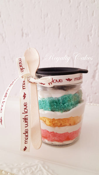 Rainbow Velvet CupCake in a Jar 6 or 12