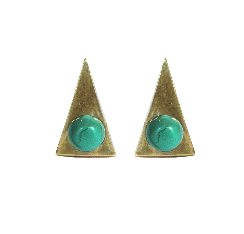 Turquoise Triangle Stud Earrings ,Turquoise Triangle Stud Earrings, Earrings, Chibi Jewels, Chibi Jewels - Chibi Jewels