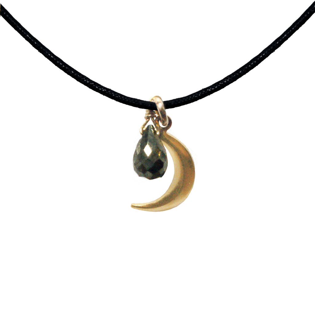 Long Moon Gemstone Cord Necklace