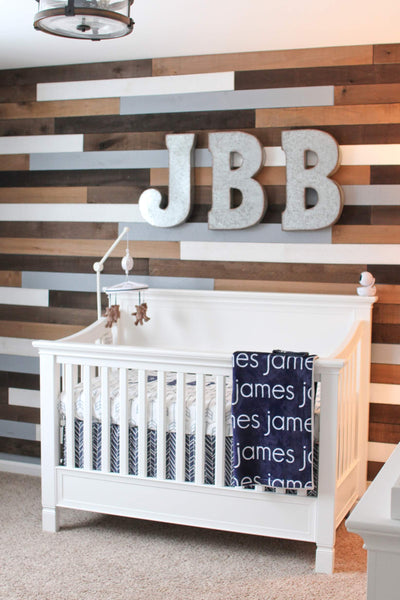 nursery wood wall white crib name blanket personalized modern