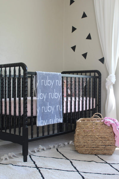 Nursery Vintage Crib Personalized Blanket Modern