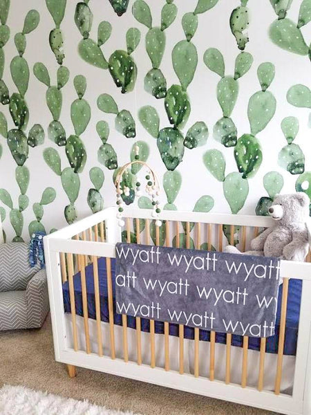 Nursery Modern Crib Personalized Blanket Wallpaper