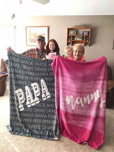 GRANDPA / DAD + GRANDKIDS THROW BLANKET
