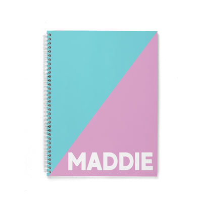 2 TONE COLOR BLOCK PERSONALIZED SPIRAL NOTEBOOK