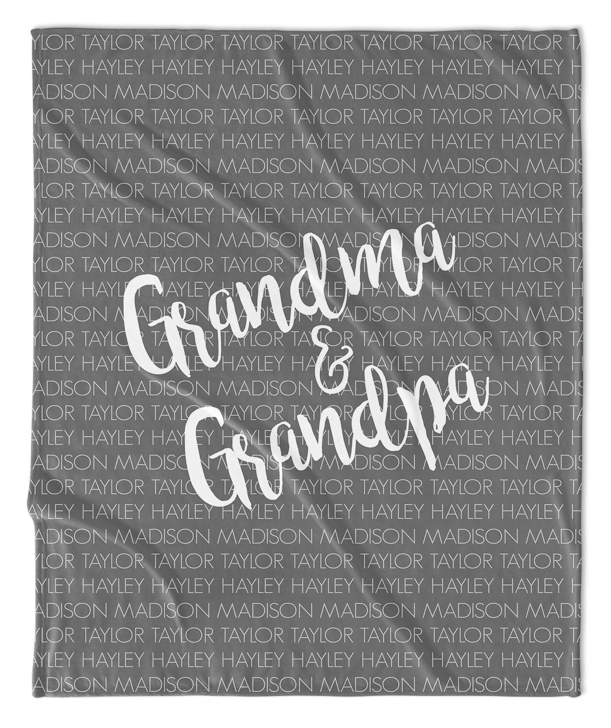 GRANDPARENT DUO + GRANDKIDS FAMILY THROW BLANKET
