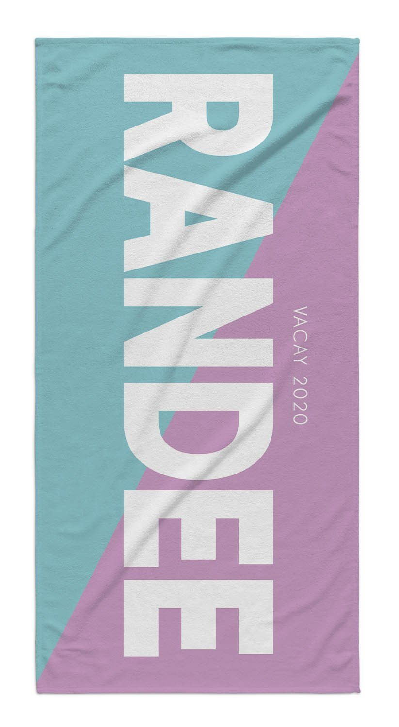 2 TONE COLOR BLOCK PERSONALIZED TOWEL