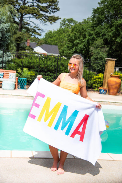 RAINBOW LETTERS PERSONALIZED TOWEL