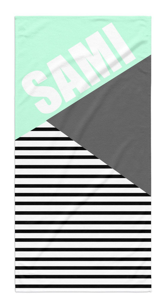 PERSONALIZED COLOR BLOCK STRIPE BEACH TOWEL - highway 3