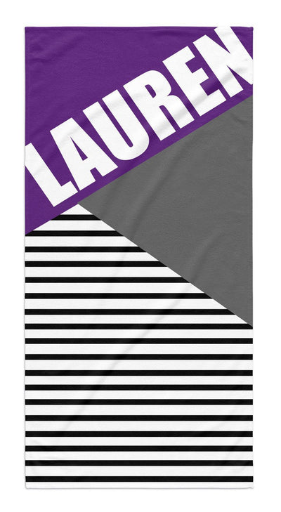 PERSONALIZED COLOR BLOCK STRIPE BEACH TOWEL