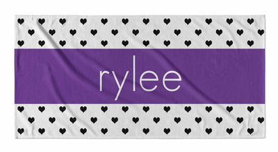 PERSONALIZED HEARTS STRIPE BEACH TOWEL