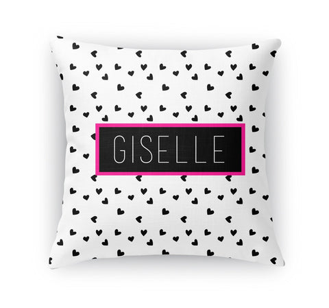 BLACK AND WHITE HEARTS THROW PILLOW
