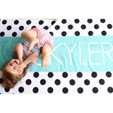 PERSONALIZED POLKA DOT STRIPE BEACH TOWEL - highway 3